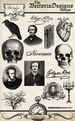 Edgar Allan Poe Photoshop Brushes by VectoriaDesigns