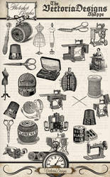 Vintage Sewing Photoshop Brushes by VectoriaDesigns