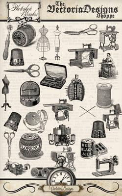 Vintage Sewing Photoshop Brushes
