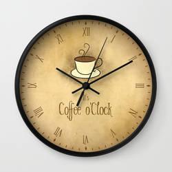 Coffee o'Clock Wall Clock by VectoriaDesigns