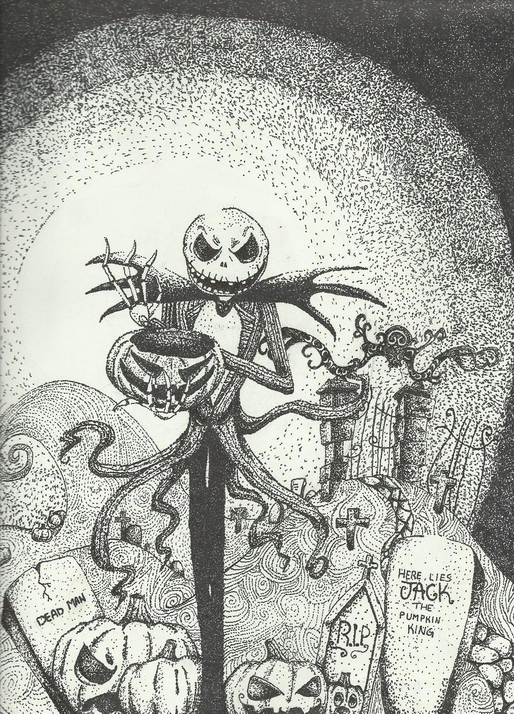 pumpkin king by geeky afakasi ninja fan art traditional art drawings ... Nightmare Before Christmas Pumpkin Patch Drawing