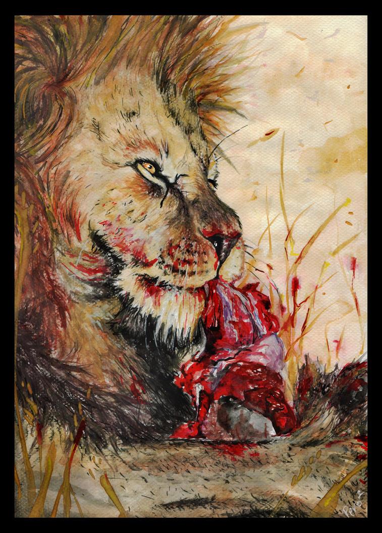 Watercolour Lion by VilePero