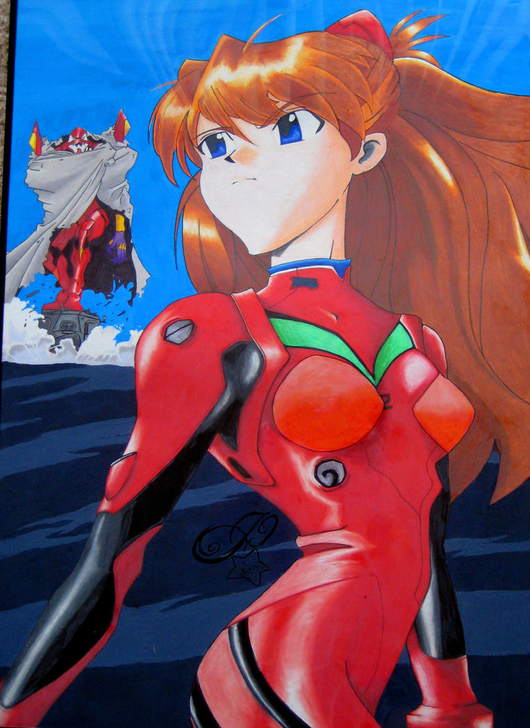 Neon Genesis Evangelion: Asuka with Eva Unit 02 by ...
