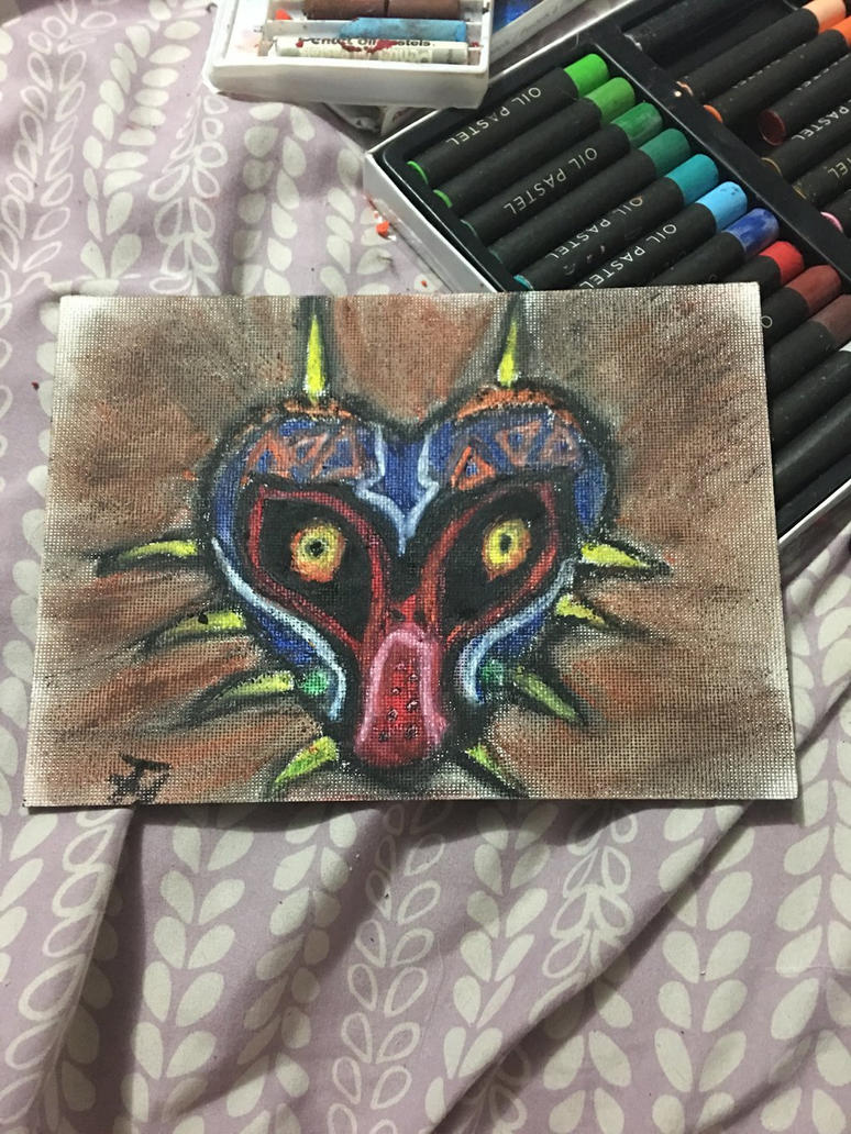 Majora's Mask in Oil Pastels by TyTheNaught