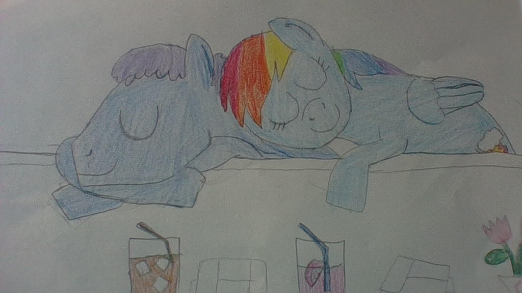 Rainbow and Plasma sleeping. by Dracorider19