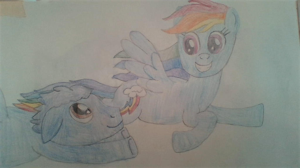 Rainbow and Plasma flying together by Dracorider19