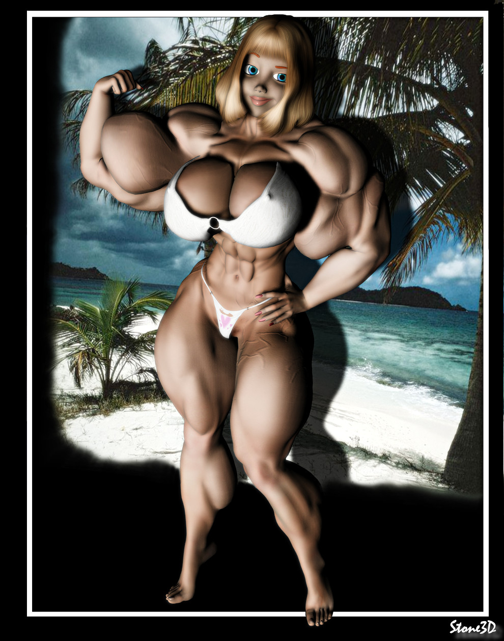 Amazon muscle women in 3d nude scenes