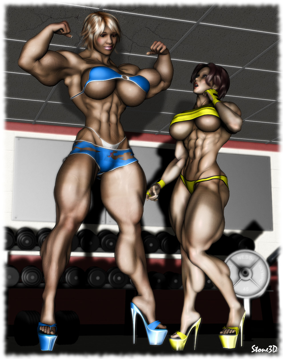 Amazon muscle women in 3d sex pussy