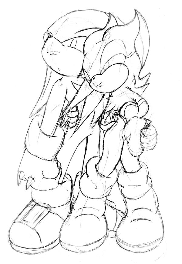 knuckles coloring pages - knuckles and rouge by ichizack on deviantart