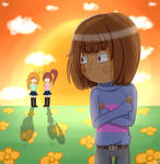 UNDERTALE - Frisk and two random girl.