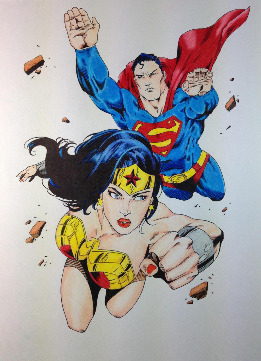 Wonderwoman superman flying colored by ssgjoey on deviantart - Superman wonder woman cartoon ...