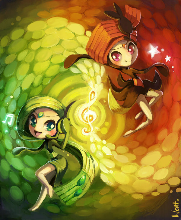 Meloetta and Pirouette by lunasnightmare