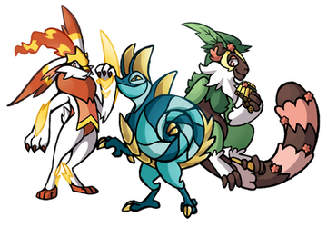 Scorbunny, Sobble, and Grookey Evolutions by PrinceofSpirits
