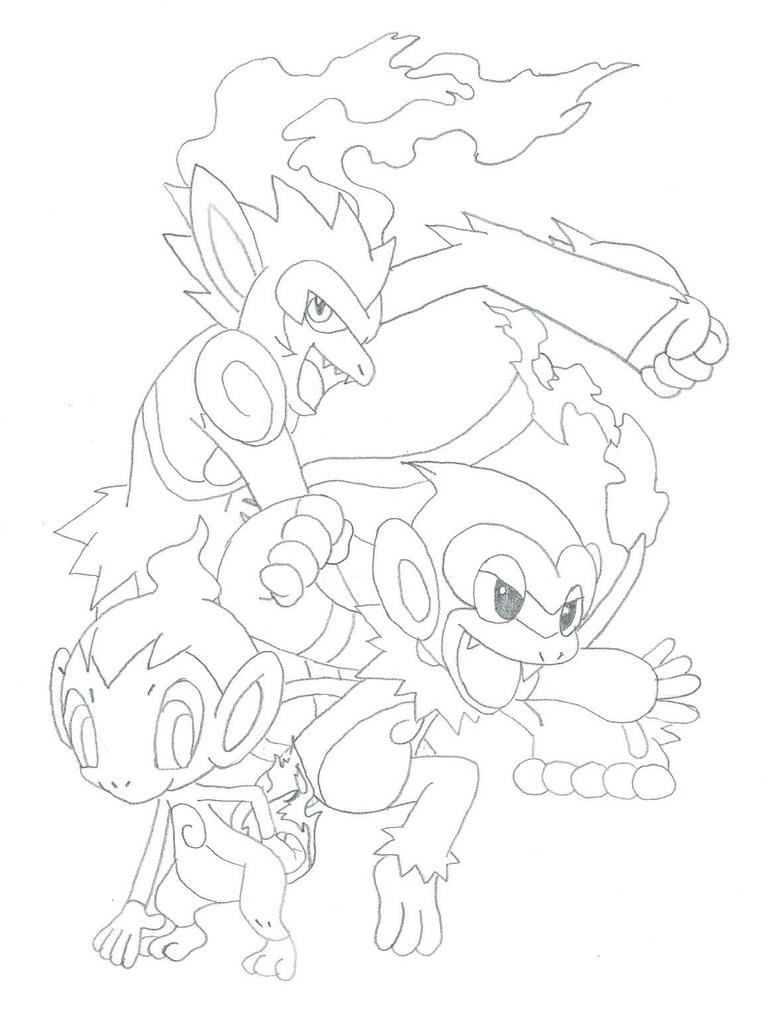 chimchar coloring pages - chimchar evolutions by demonicangelsoul on deviantart
