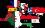 Mediterranean Countries Flag-Map