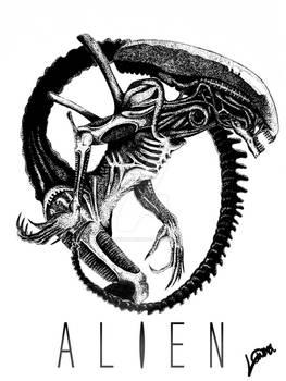 Alien Xenomorph Stippling Drawing