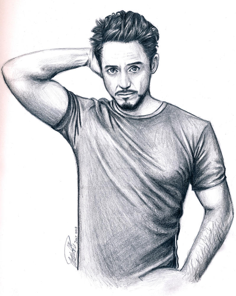 Robert downey jr pencil drawing by breathlessdragon