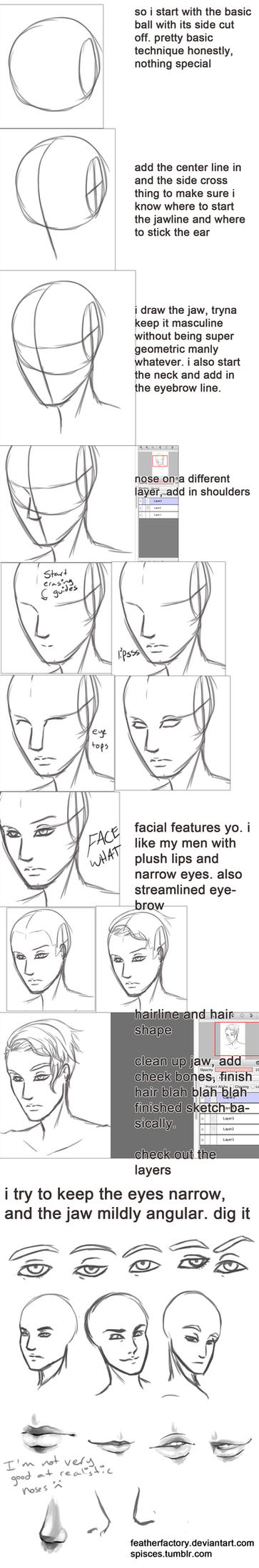 sketchin a pretty dude's face walkthrough thing by FeatherFactory