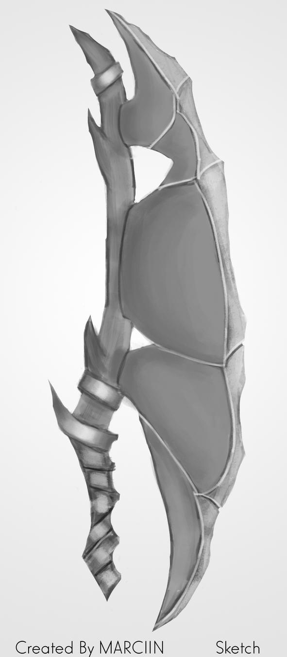 Orc Axe ( Concept Art, sketch ) by MarciiN