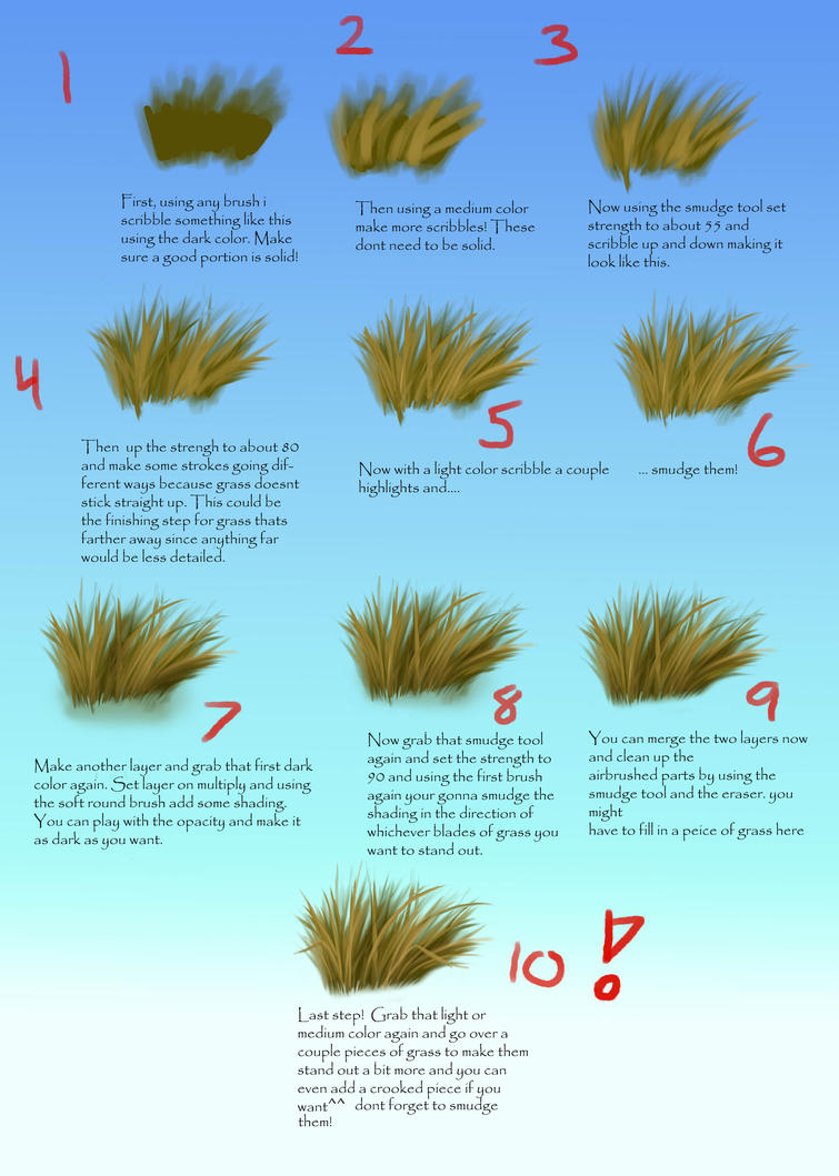 How I draw grass by Kara-Kiwi