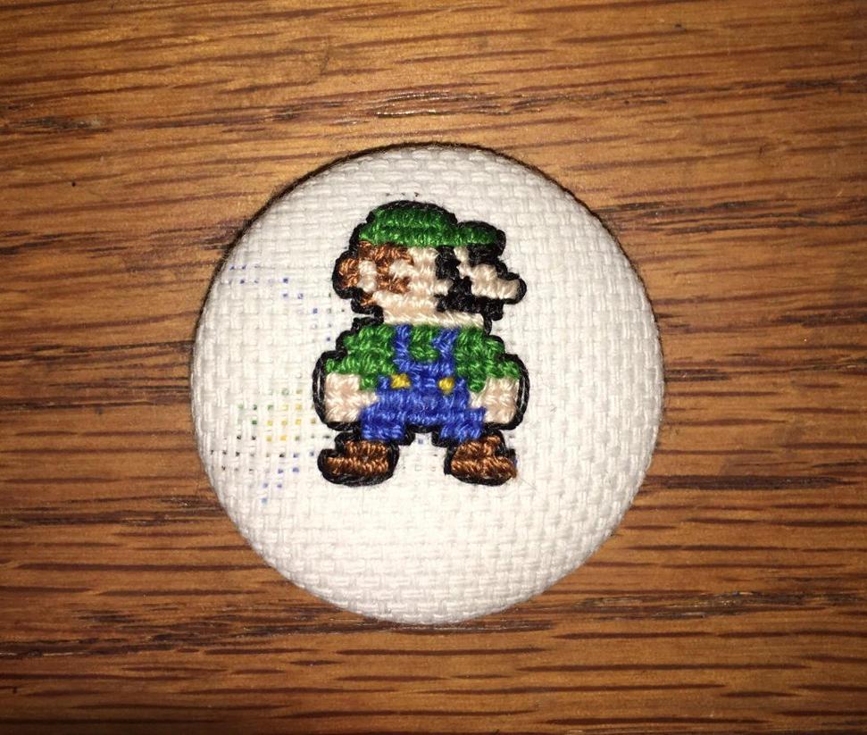 Luigi Cross Stitch button by Romaen