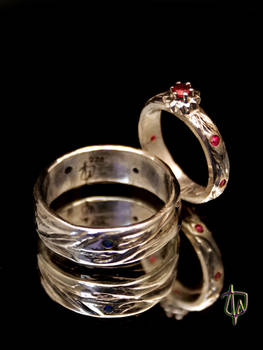 Sun and River Wedding Rings