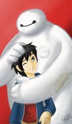 Hiro and Baymax by Doqida