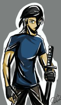 A guy in a blue T