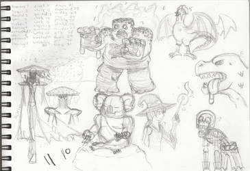 Inktober 2018 sketches days 1-7 by KingCondor