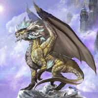 Sky Castle and Dragon by Pacelic