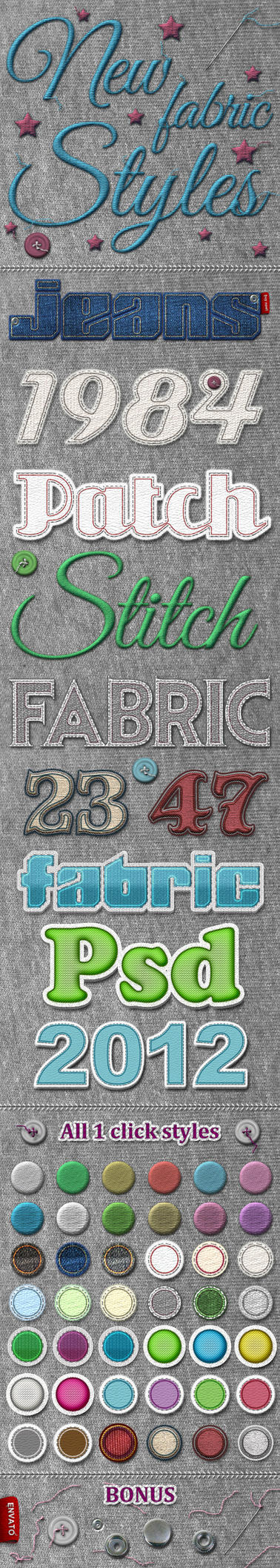 New Fabric Photoshop Styles by designercow