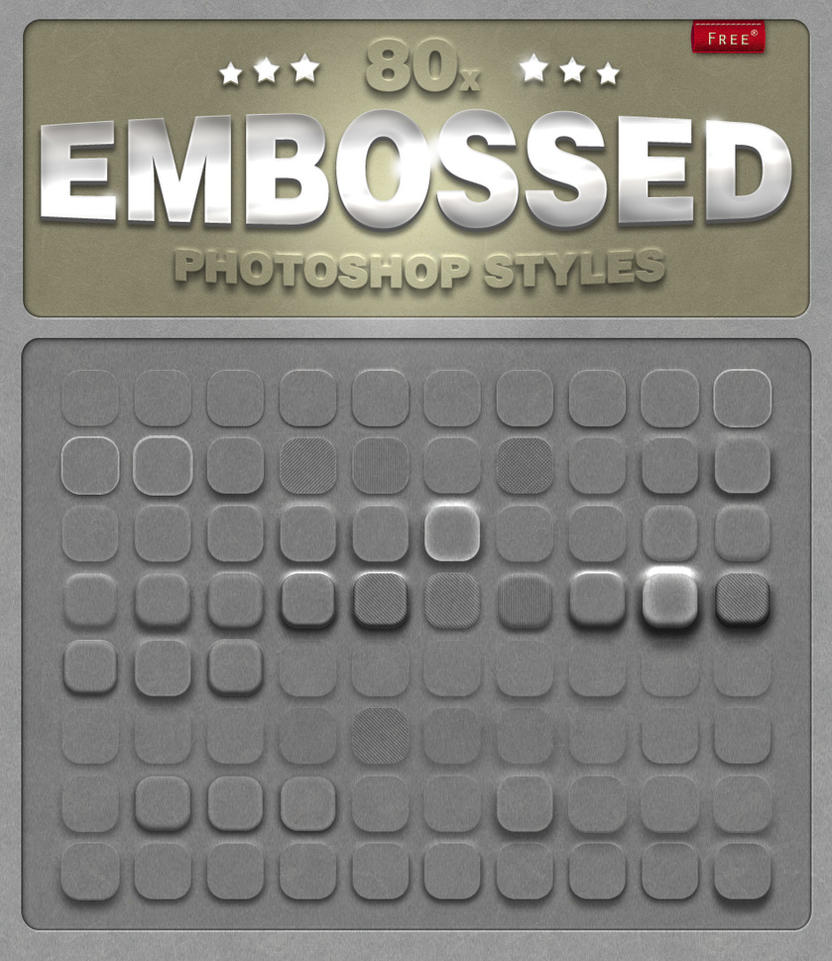 80 Free Embossed Photoshop Styles by designercow