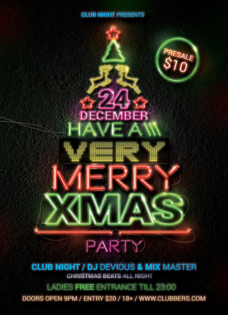Neon Christmas Flyer by designercow