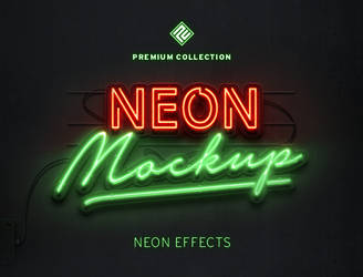 Neon 3D Text Mockup by designercow
