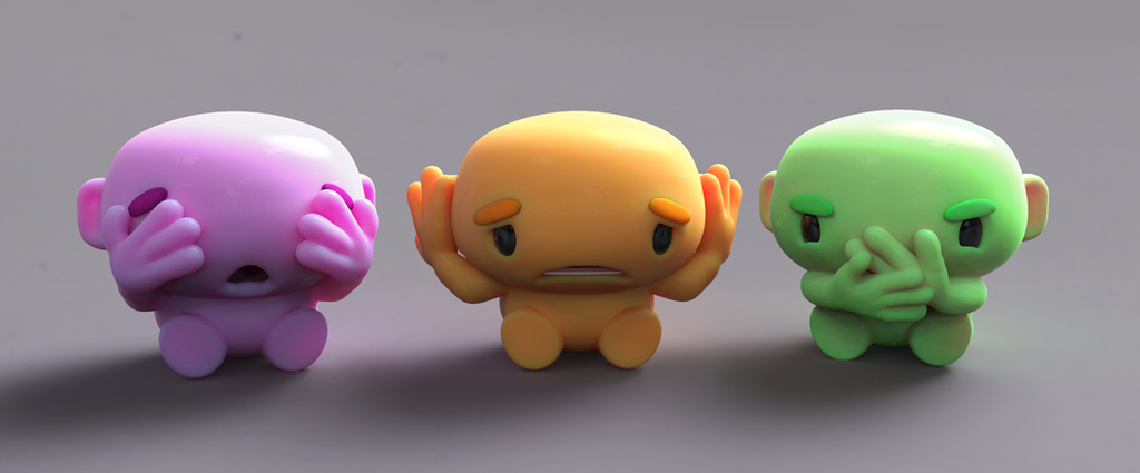 Zbrush Doodle: Day 1210 - See Hear Speak No Evil by UnexpectedToy