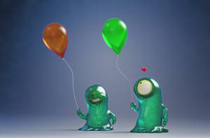 Zbrush Doodle: Day 1505 - Monsters with Balloons by UnexpectedToy