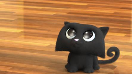 Zbrush Doodle: Day 1934 - Black Smoosh Kitten