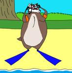 Badger in snorkeling gear