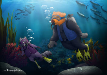 Kenai and Bering scuba diving underwater