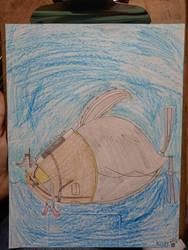 Albert the Skunk swimming