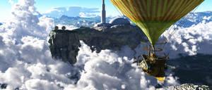 Flying island fantasy