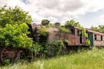 An old abandoned and rusty steam locomotive