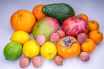 Fresh tropical fruits painted with light