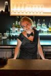 Lovely barman girl, smile on customers