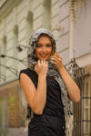 Beautiful model posing for photo in old city