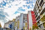 Slovakia city view on height prefab houses