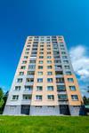 Prefab concrete building, wide angle lens