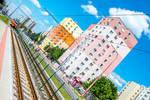 Crazy angle city tram