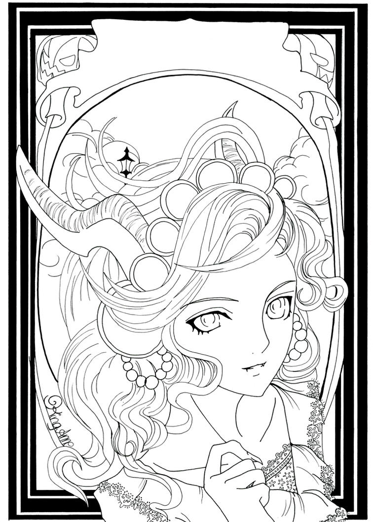 Autumn halloween by king anne on deviantart for Fall and halloween coloring pages
