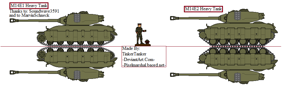 (ALT) M14E1, and M14E2 Heavy Tanks by TinkerTanker44432